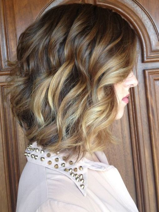 A-line bob with balayage pretty loose curls -Perfect Hairstyles 2016 - 2017 for Autumn-Winter