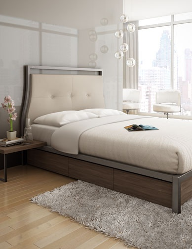 New York bedroom, metal frame, leather headboard and storage drawers from amisco.com