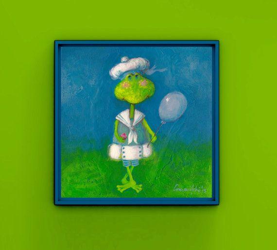 Baby Girl Nursery Print Frog Art Print Kid Painting Frog