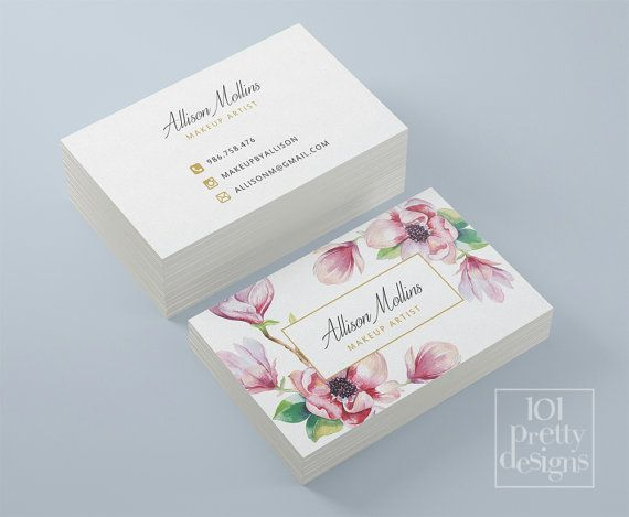 Floral business card design, flowers business card template printable business card design watercolor business card,  white pink gold