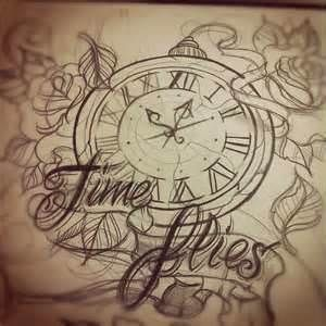 Time Flies Clock Tattoo Design