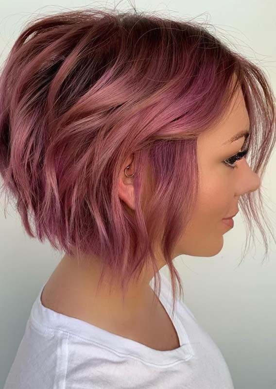 26 Perfect Pink Short Haircut Styles For Girls In 2019 Absurd Styles Short Wavy Hairstyles For Women Hair Styles Thick Hair Styles