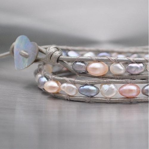 Elegant and casual - perfect summer style Beaded Leather Wrap Bracelet Misaki