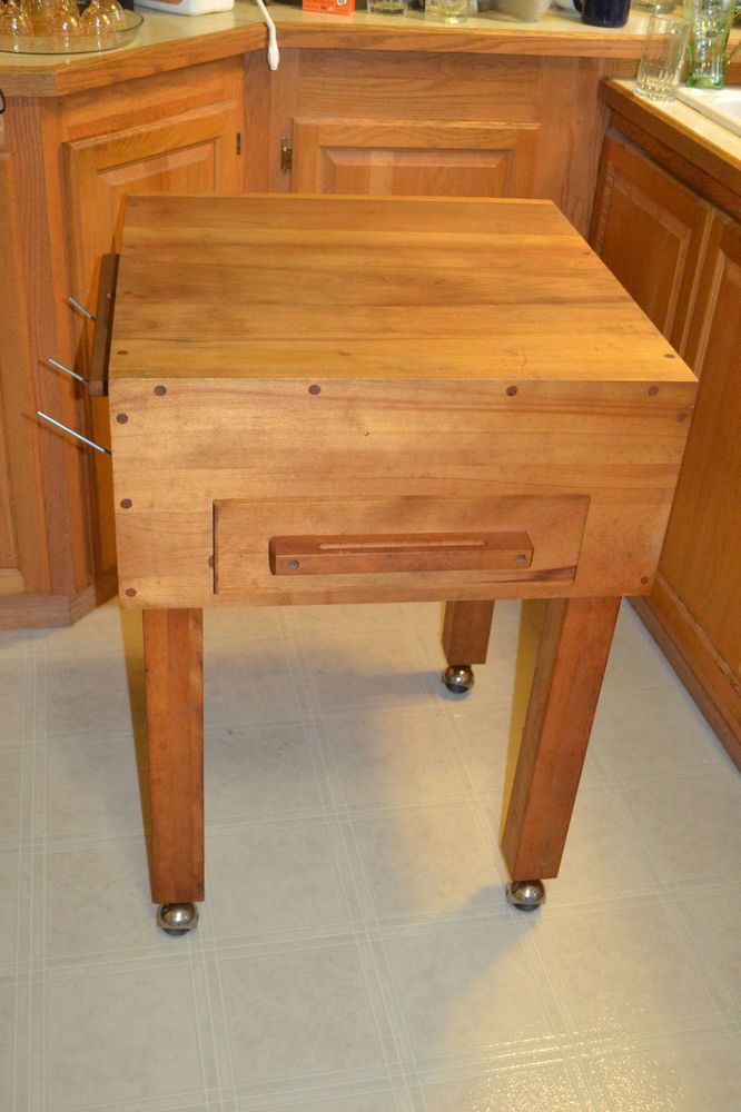 vtg butcher block kitchen island prep table chopping