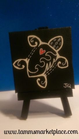 Black and White Turtle with a pink colored heart on mini canvas with easel.
