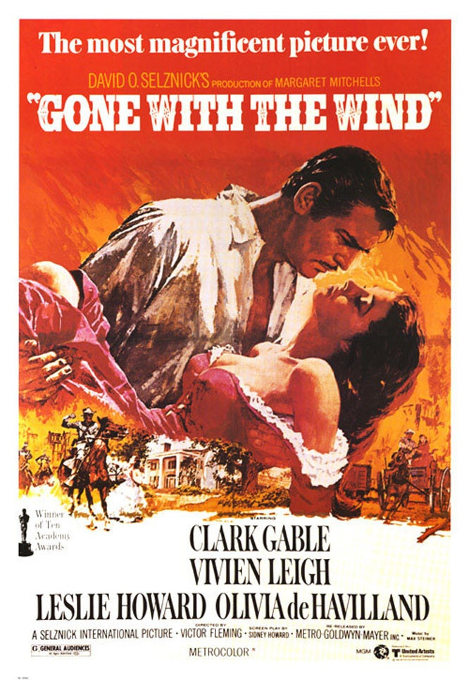 Gone with the Wind 1939 - American classic in which a manipulative woman and a roguish man carry on a turbulent love affair in the American south during the Civil War and Reconstruction.