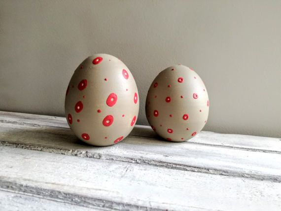 Grey Easter eggs red and light grey ceramic Easter by ArktosArt