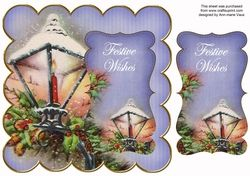 Blue Christmas Lantern Festive Wishes 8in Scallop Topper on Craftsuprint - View Now!