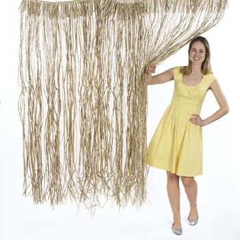 Island Door Curtain (Raffia) :   Welcome your luau guests in style with this fun raffia door curtain! Add an island tropical touch to your beach bash décor, and hang this curtain at your party entrance!   Two door curtains were used to create the look shown in the picture.  price is for one door curtain: 1.02 m x 1.52 m