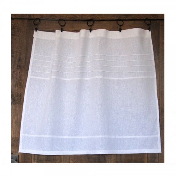 Opaque Linen Cafe Curtain Kitchen Curtain by LinenAndLetters