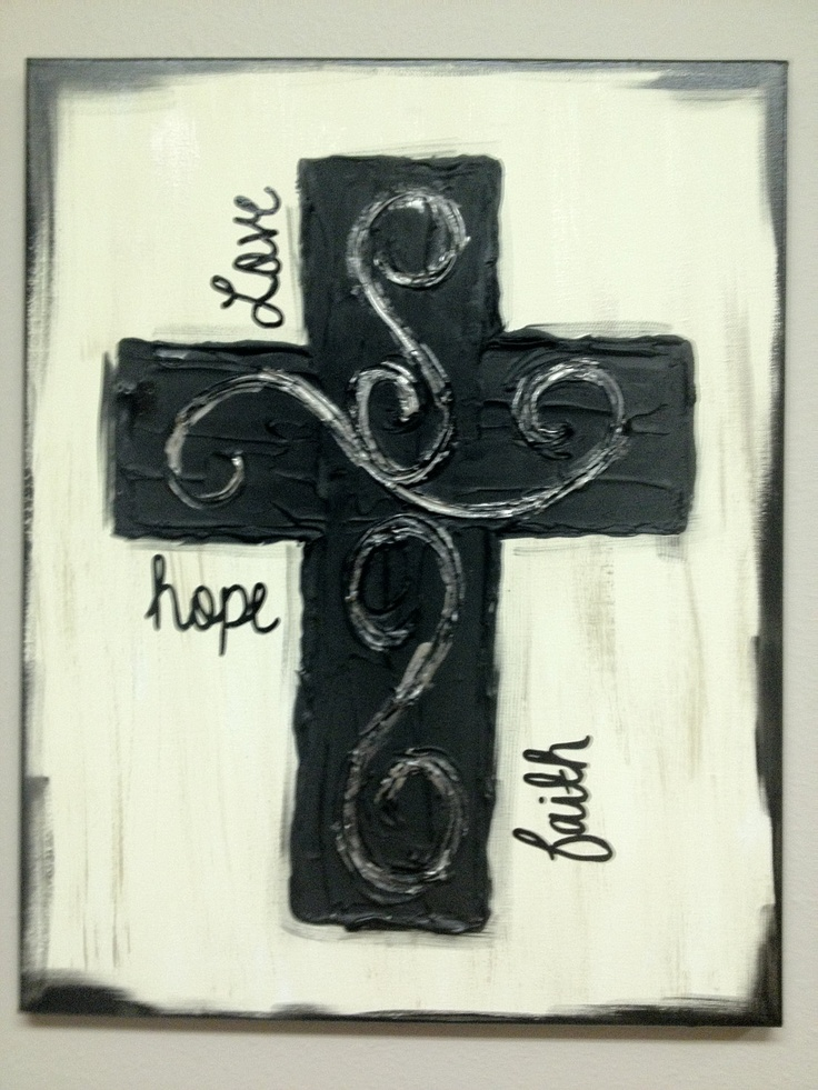 "Black Textured Cross Canvas ""Faith, Hope, Love"""
