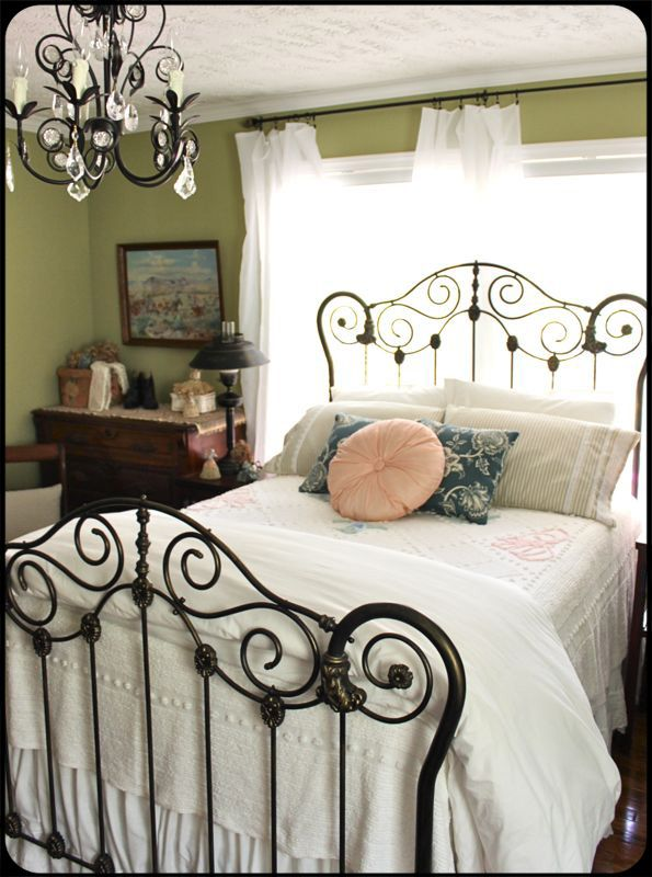november 2013 cottage of the month painted iron bedsblack iron bedscottage bedroomsguest bedroomsiron bed frameswrought - Wrought Iron Bed Frames