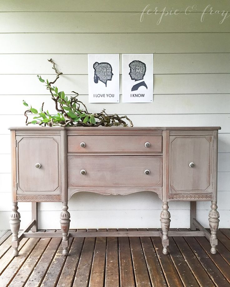 """Buffet painted by Amanda of Ferpie and Fray in """"Stillwater Grey"""" by Real Milk Paint Co."""
