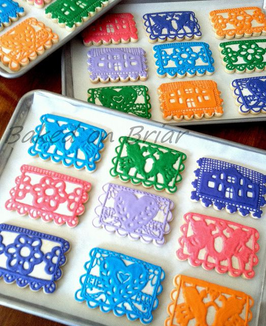 papel picado (paper flags) style cookies