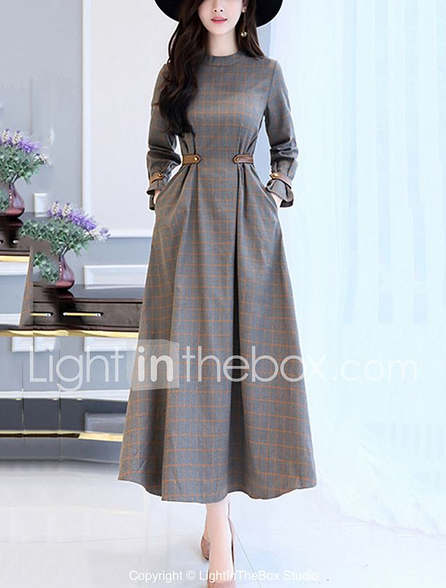 Women's Party Going out Casual Maxi Swing Dress – Check Patchwork Stand Fall Cotton Gray L XL XXL / Loose