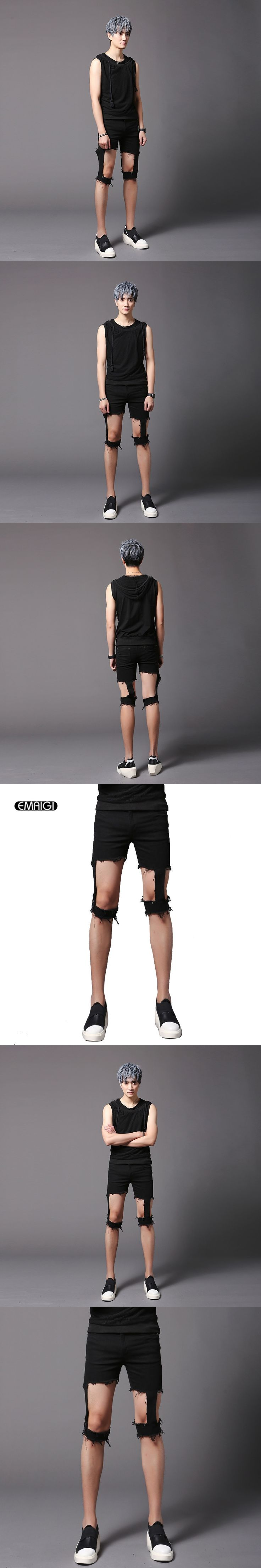 Men Fashion Casual Shorts Punk Rock Stage Show Costumes Street Hip-hop Skinny Hole Hollow Shorts