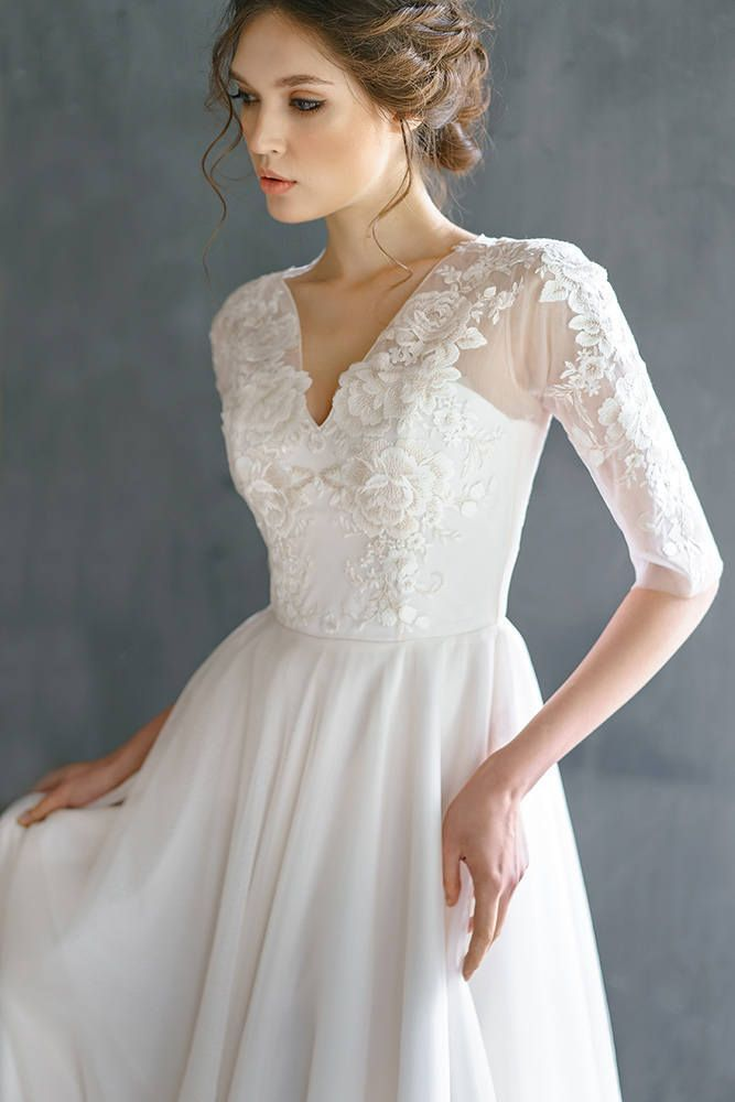 Wedding Dress Soft Tulle 100 Natural Soft Silk Lace Wedding Dress Rauza Long Sleeve Wedding Dress Lace Lace Top Wedding Dress Wedding Dresses Lace