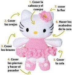 Hello kitty ballet dancer. This pattern is in Spanish, but hopefully I can use google translator to get it in English. #crochet #free_pattern #pattern #amigurumi #hellokitty #hello_kitty #cat #tutorial