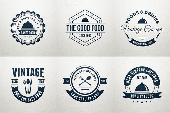 6 Food Logos, Retro Badges, Labels ~ Logo Templates on Creative Market