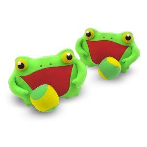 Learning Toys For 3 year Olds: Froggy Toss and Grip: Sunny Patch Outdoor Play Series Great for eye hand coordination. Have your little one toss the ball in the air and then try catch it. Or better yet you throw the ball to him. http://bit.ly/1v0Lh4Z