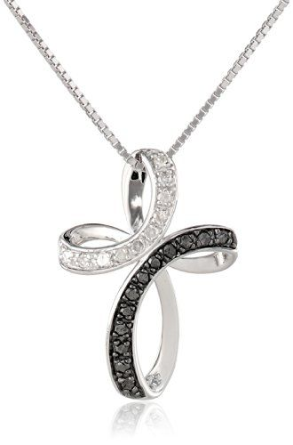 #blackdiamondgem #carbonado Sterling Silver 1/4cttw Black and White Diamond Cross Pendant Necklace, 18″	by Amazon Collection - See more at: http://blackdiamondgemstone.com/jewelry/necklaces/pendants/sterling-silver-14cttw-black-and-white-diamond-cross-pendant-necklace-18-com/#sthash.qt6aTcbu.dpuf