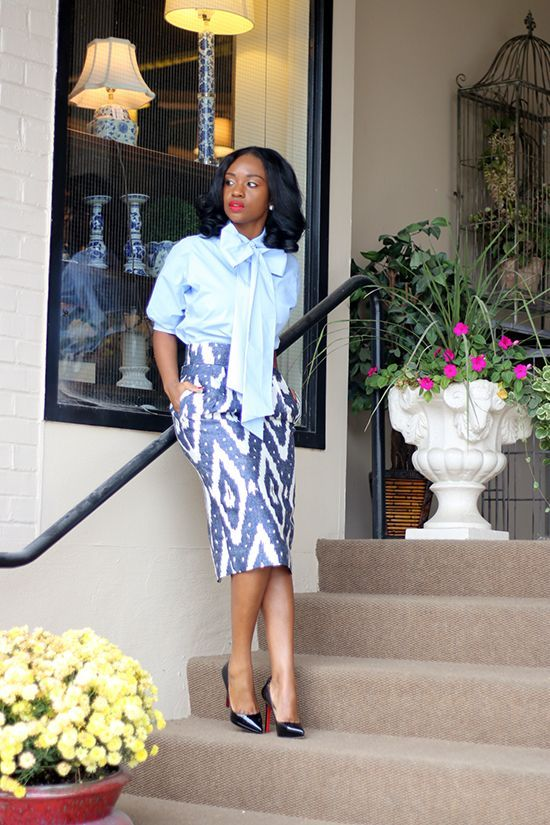 Oversized Bow and Ikat Skirt
