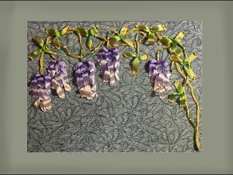 ▶ how to make silk ribbon embroidered wisteria blooms - YouTube