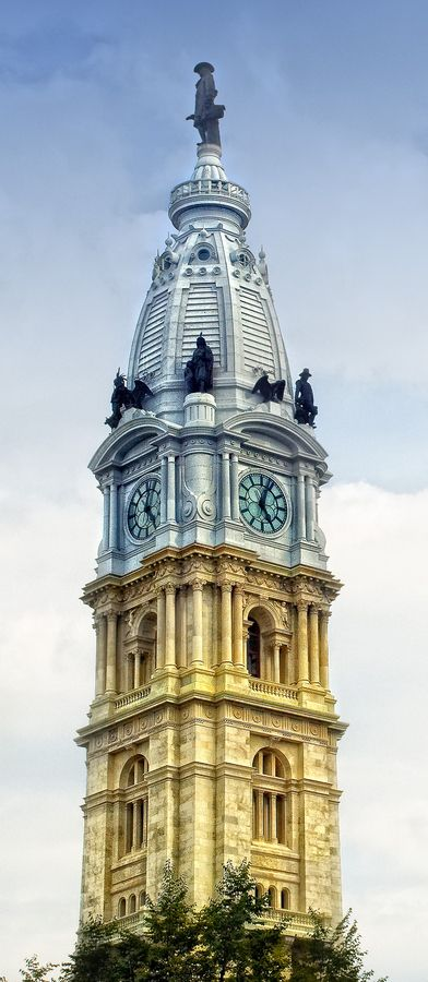 "City Hall, Philadelphia, Pennsylvania.  A statue of city founder William Penn is at the top. On entering Philadelphia by car the first person to spot city hall always said ""Behold the largest pen holder in the world!""  We still do."