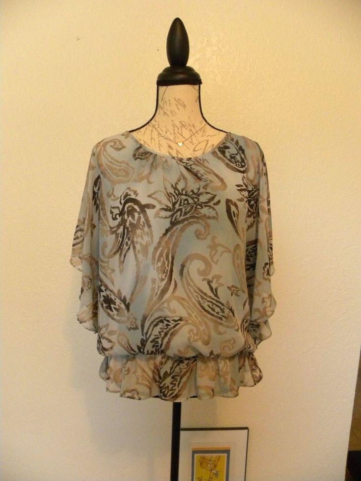 Dressbarn Pretty Big Paisley Mint Blouse Size L Cold Shoulders Bat Sleeve  #Dressbarn #Blouse