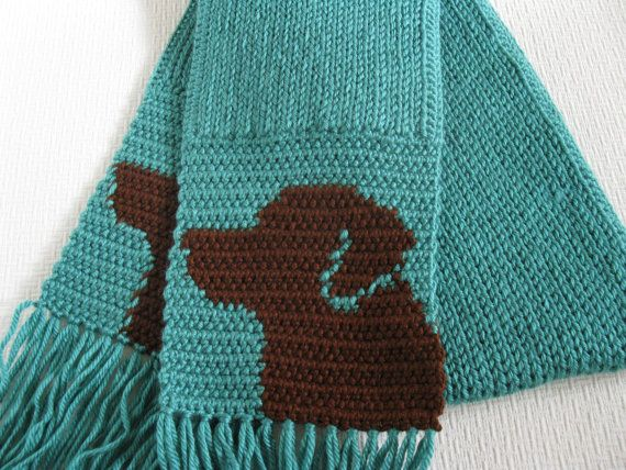 We want one! How cute is this teal Labrador Retriever scarf?