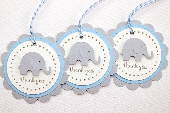 Favor Tag/Favour Tag/Gift Tag. Elephant. Baby Blue. Pack of Twelve. Baby Shower - First Birthday.