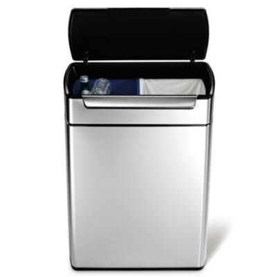 product image for simplehuman® Brushed Stainless Steel 48-Liter Rectangular Touch Bar Trash Recycler