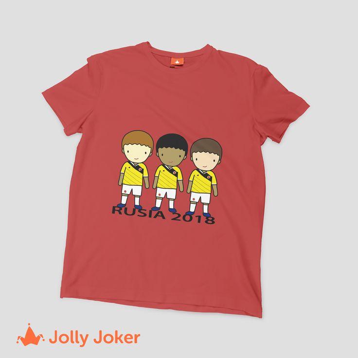 Para el mundial de Rusia puedes diseñar las mejores camisetas para tu grupo de amigos o familia! No pasaran desapercibidos en ningún partido de Colombia con sus camisetas personalizadas :) Entra A  Jolly Joker y ordenalas super fácil
