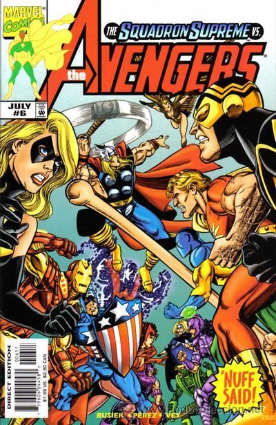 """From the writer and artist of """"JLA/Avengers""""! The Assembly go at it with the Squadron Supreme again. Kurt and George know what they're doing, but since I gave up buying comics years ago, I don't."""