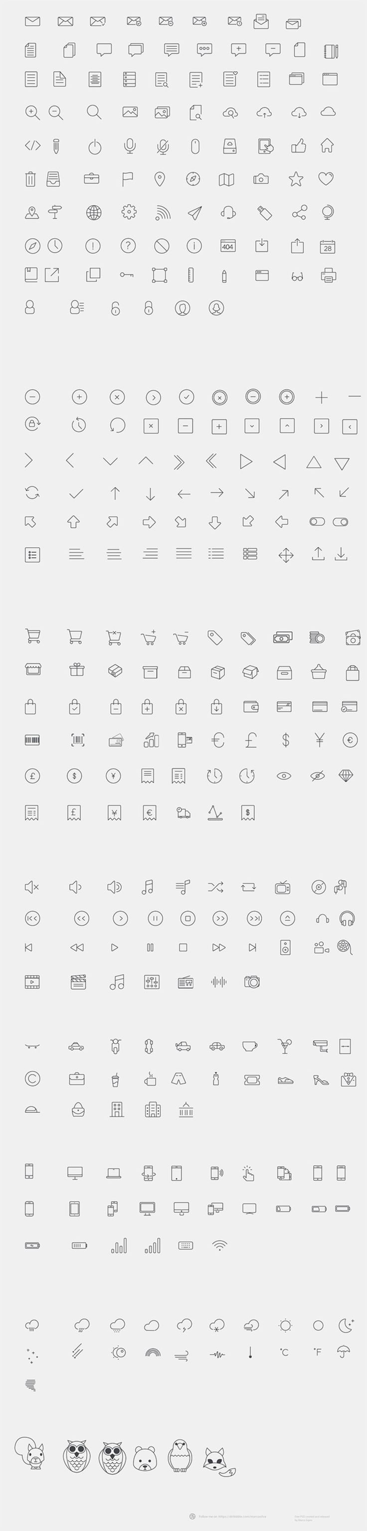 """For today we have a real icon collection created with vector shapes and retina ready. The icons are designed by <strong><a target=""""_blank"""" href=""""http://marcosilva.co.uk/"""">Marco Lopes</a>. </strong>In this great pack you will find weather icons, gadgets, arrows, locations and download icons. Enjoy!"""