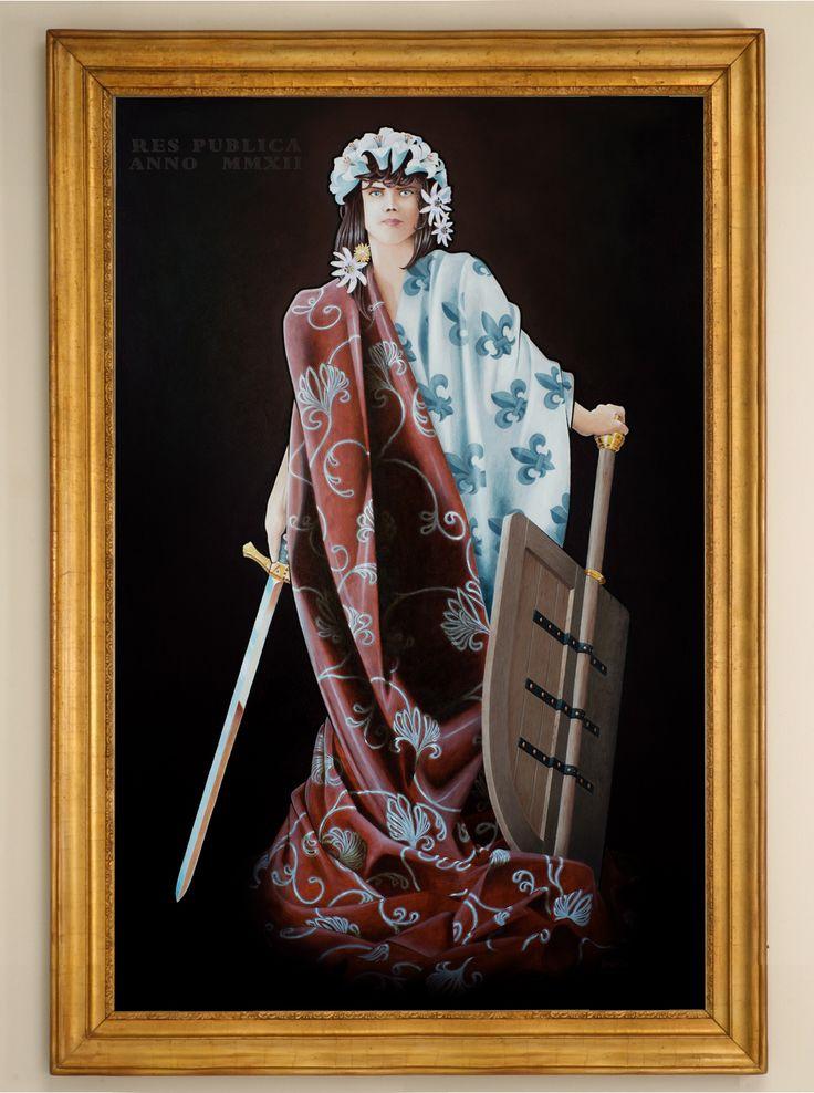 """""""La république"""" Allegory. Oil on wood panel 1.4m x 90cm"""