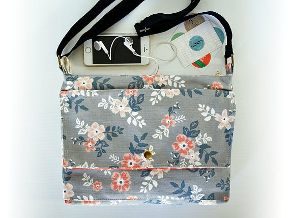 Canvas crossbody bag Fabric messenger bag Floral print