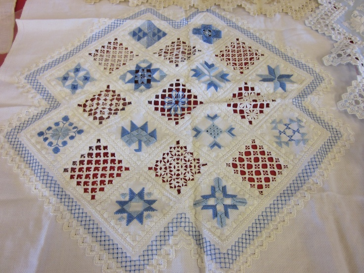 Quilted blocks interpreted in Hardanger stitches. Completed by Ann