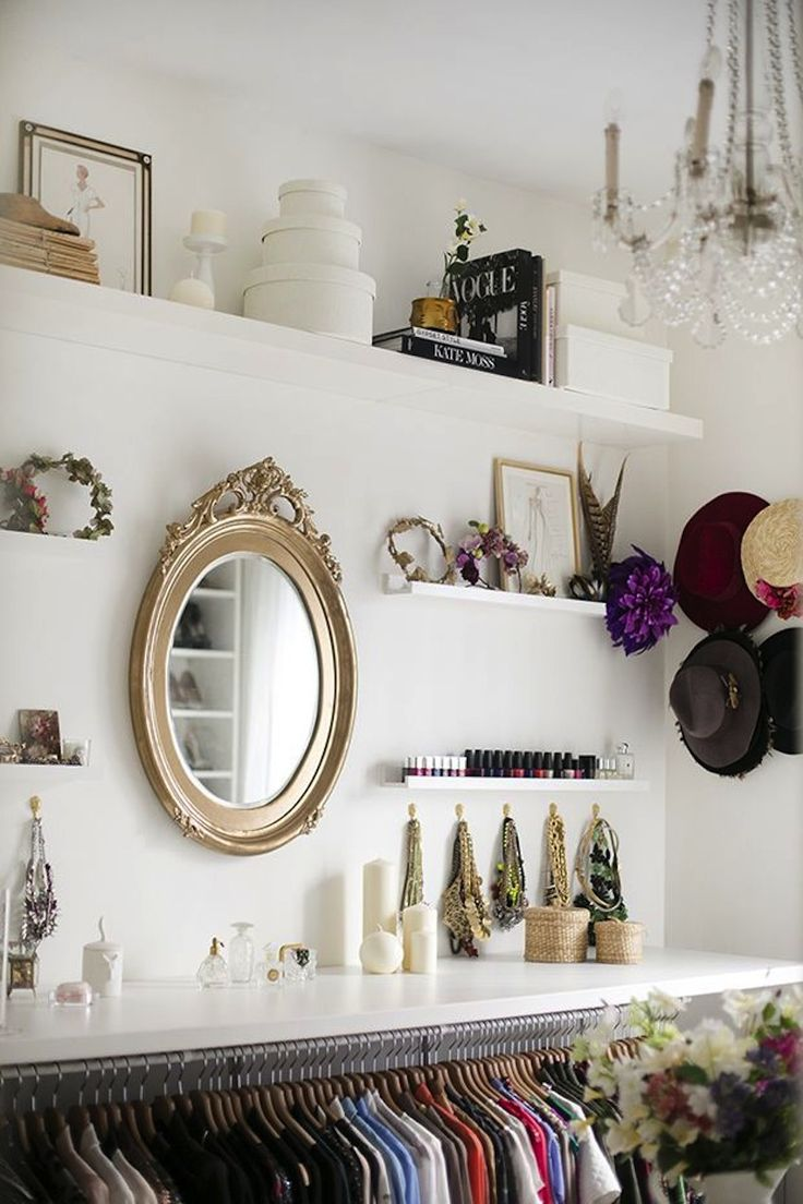 open shelving in the closet for accessories + decor