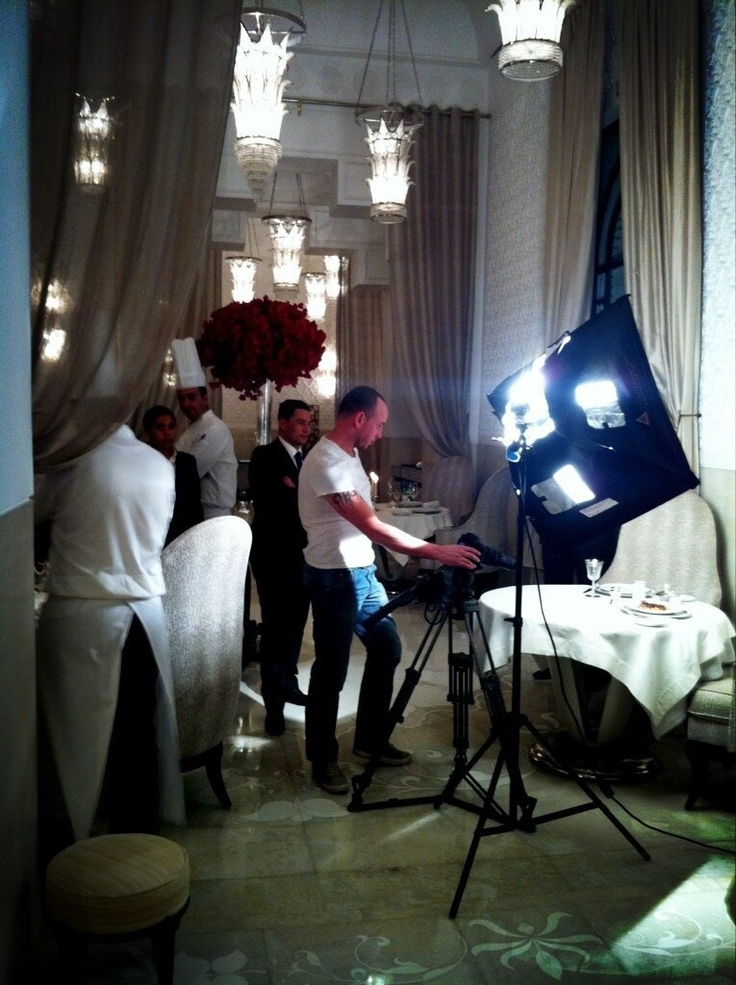 Filming in one of the top restaurants in Morocco.