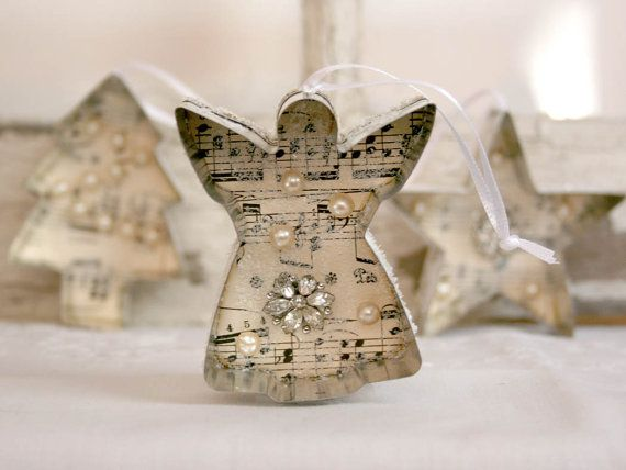 Cookie Cutter Christmas Ornament - vintage sheet music vintage jewelry glitter white gray grey victorian shabby chic cottage chic
