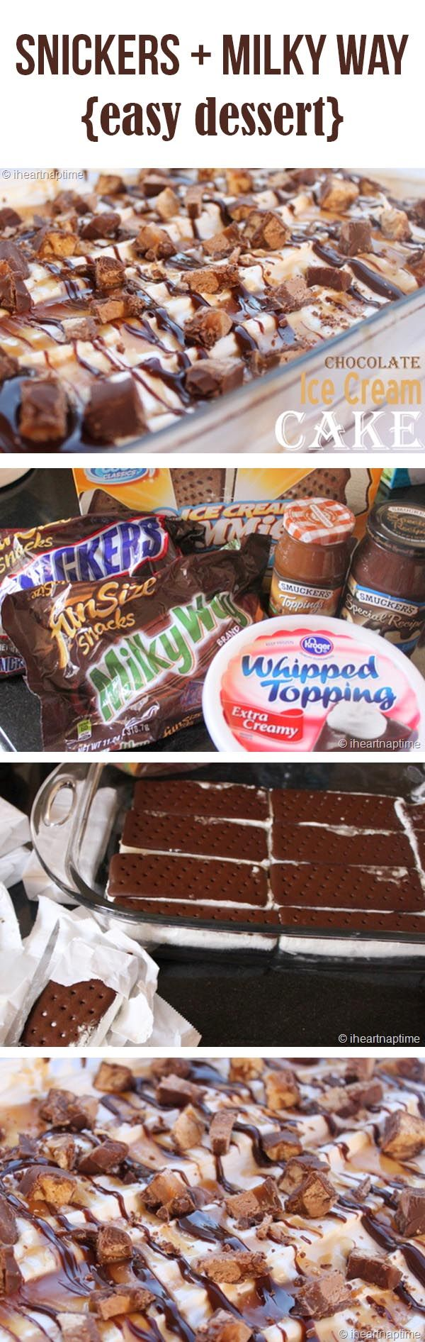 Ice Cream Cake - lay down ice cream sandwiches on a cake pan, spread whip cream over, drizzle Carmel and chocolate then top off with crushed snickers and milky way. Homemade ice cream cake perfect for a birthday:-)