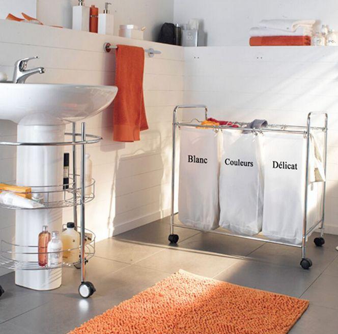 salle de bains, orange, on range tout, rangement