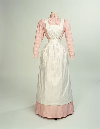 What Mrs. Patmore truly might have worn.  Cook's dress and apron c. 1890-1910.  Manchester City Galleries.