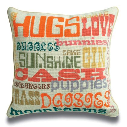 happy pillow: Needlepoint, Cute Pillows, Cushions, Barbie Dolls, Throw Pillows, Happy Pillows, Jonathan Adler, Girls Rooms, Adler Happy