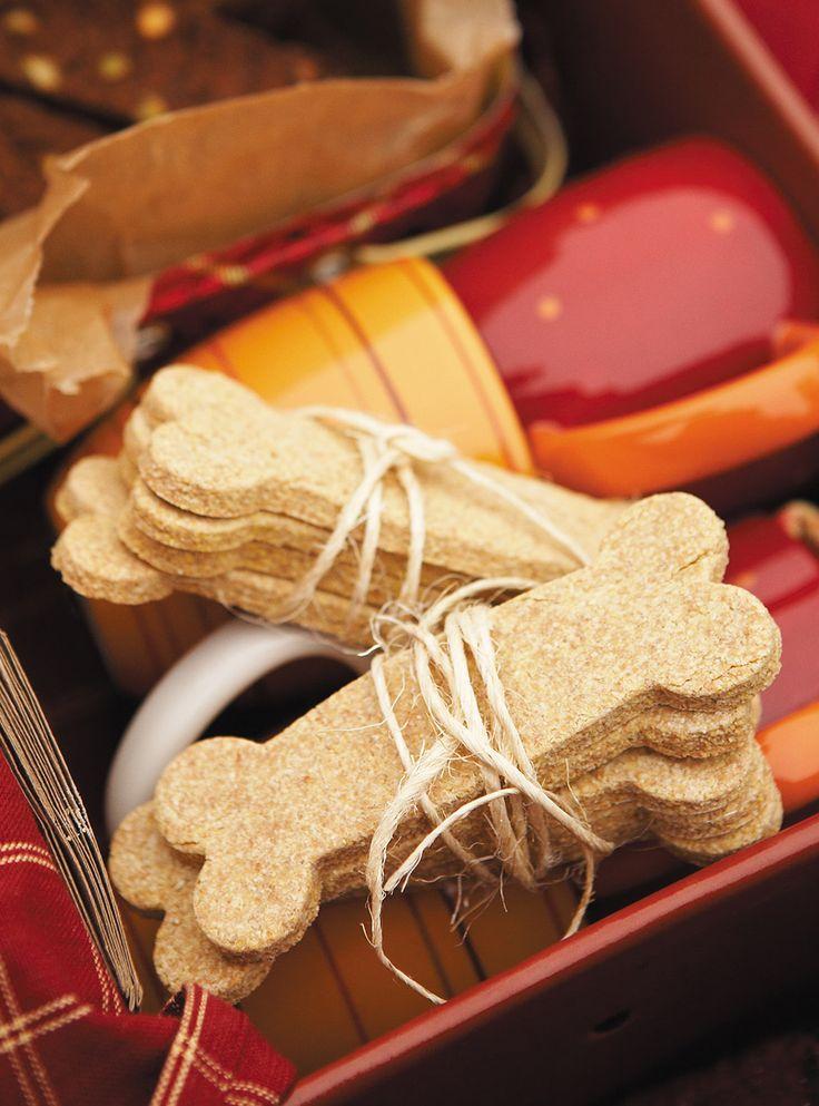 Recette de biscuits pour chiens de Ricardo. Cette recette de biscuits fera la joie de vos chiens, avec farine de blé entier, semoule de maïs, oeuf, bouillon de poulet.