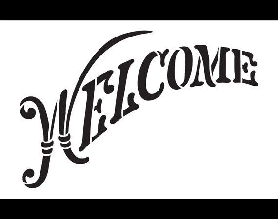 Welcome Word Stencil  Elegant Country Arched  14 X 9 por StudioR12