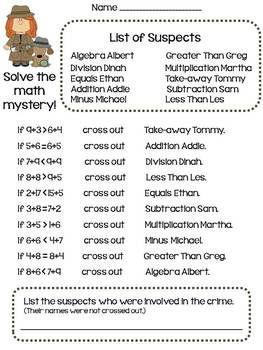Solve the Math Mystery
