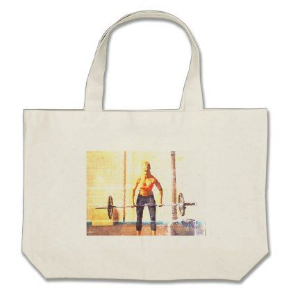 Crossfit Deadlift Large Tote Bag - watercolor gifts style unique ideas diy