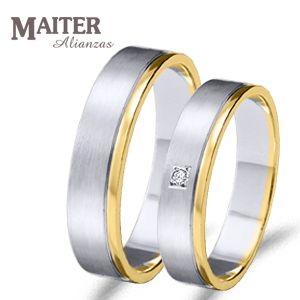 #Alianza #boda oro  blanco y amarillo con 1#brillante de 0.015cts.  Más combinaciones en www.joyasmaiter.com